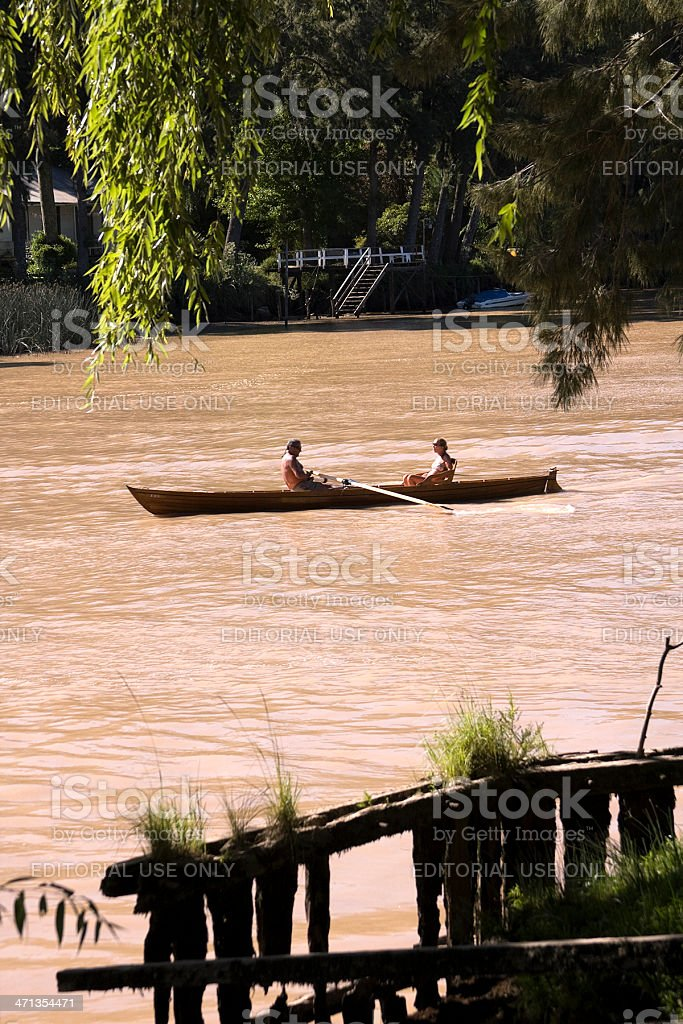 Canoeing on the River stock photo
