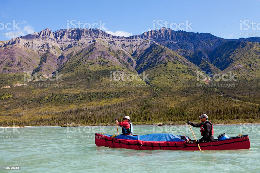 Canoeing on the Snake River in the Yukon, Canada stock photo