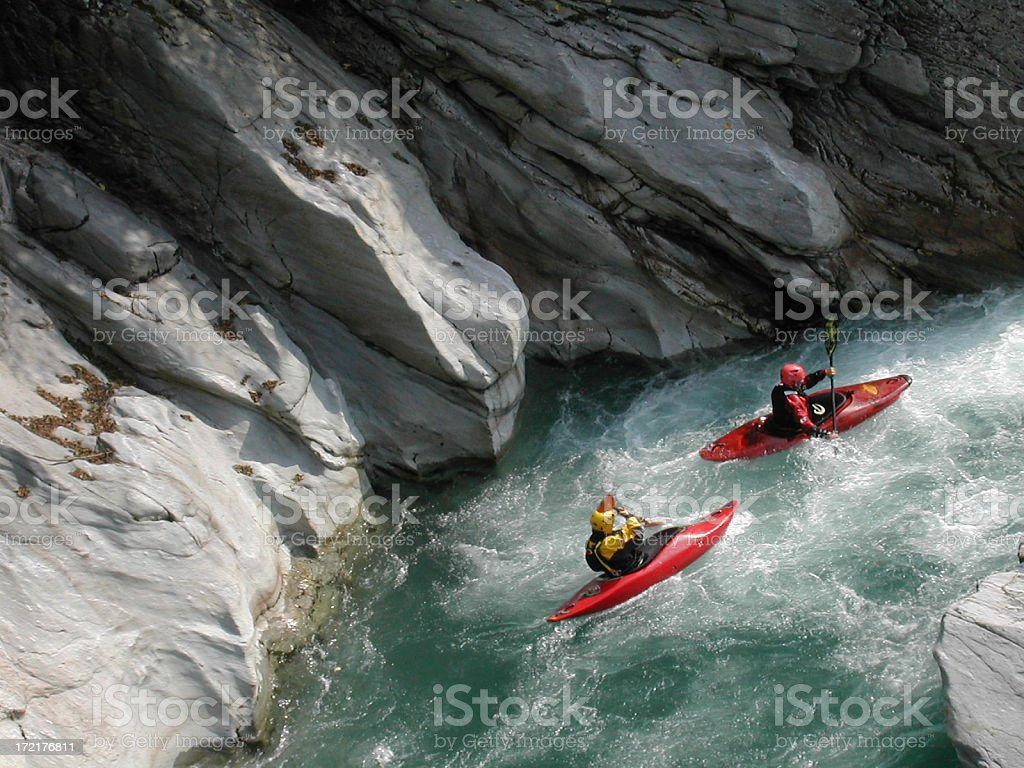 canoeist down the Sesia river stock photo