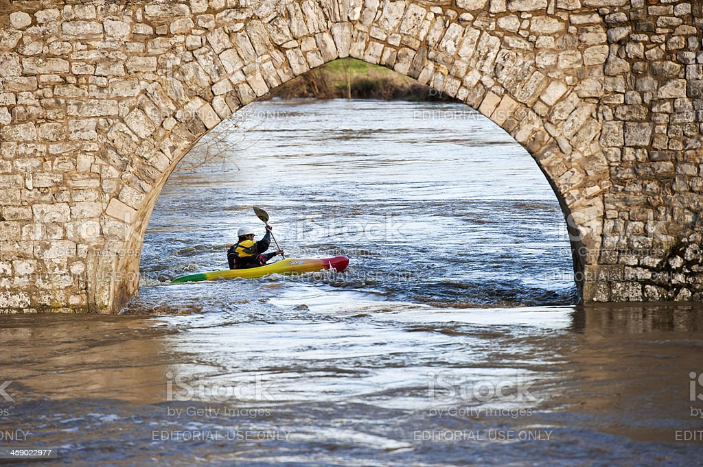 Canoeist on the River Medway stock photo