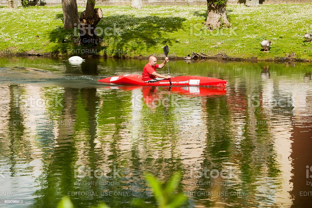 Canoeist rowing on river, grass covered riverbank with ducks. stock photo