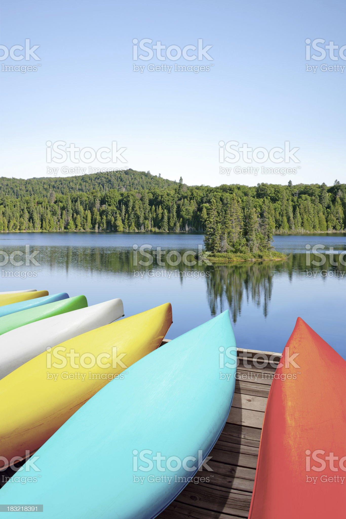 XXL canoes and lake royalty-free stock photo