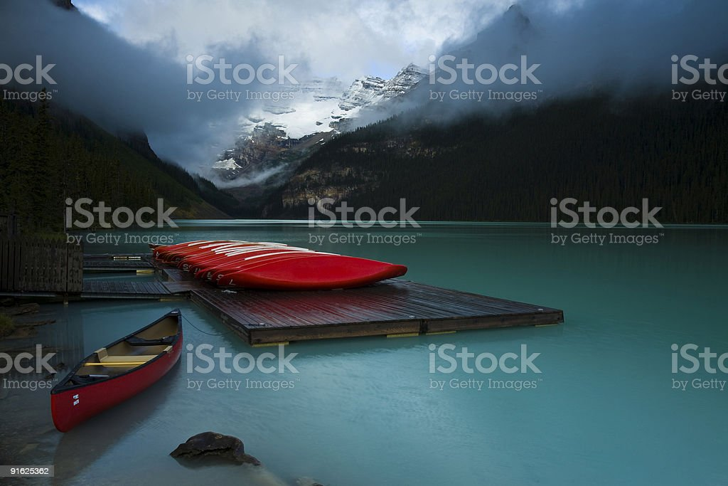 Canoes at Lake Louise royalty-free stock photo