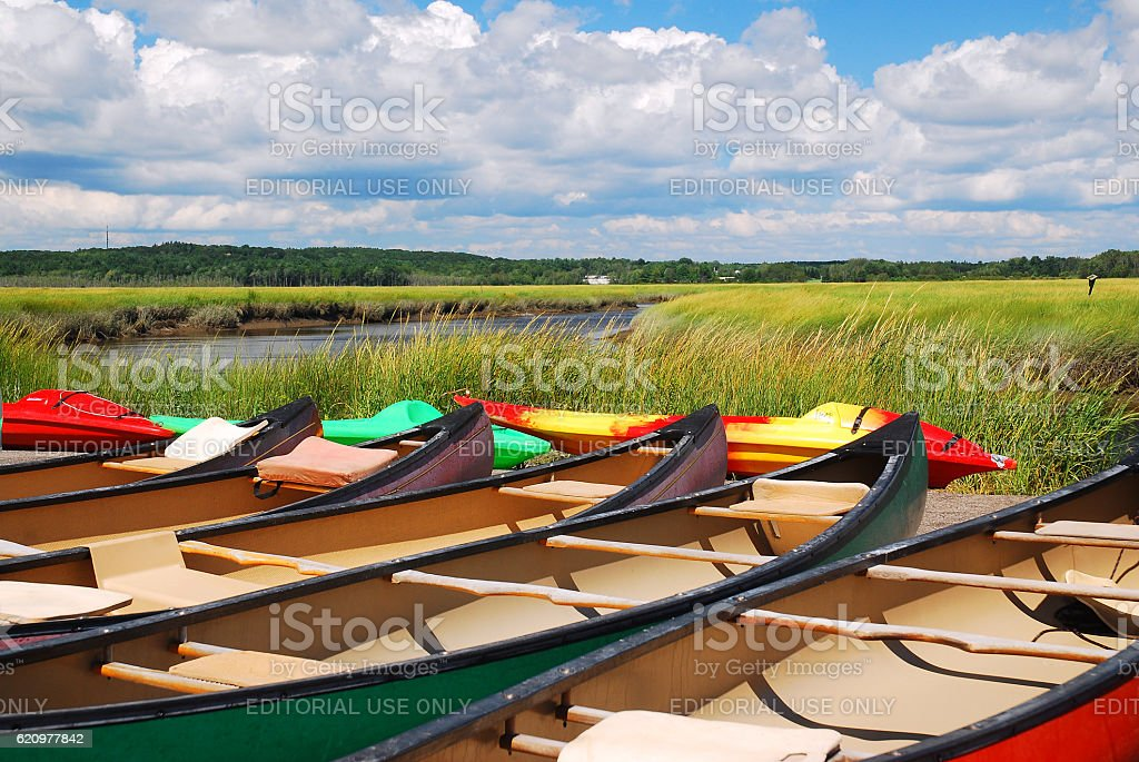 Canoes Await stock photo