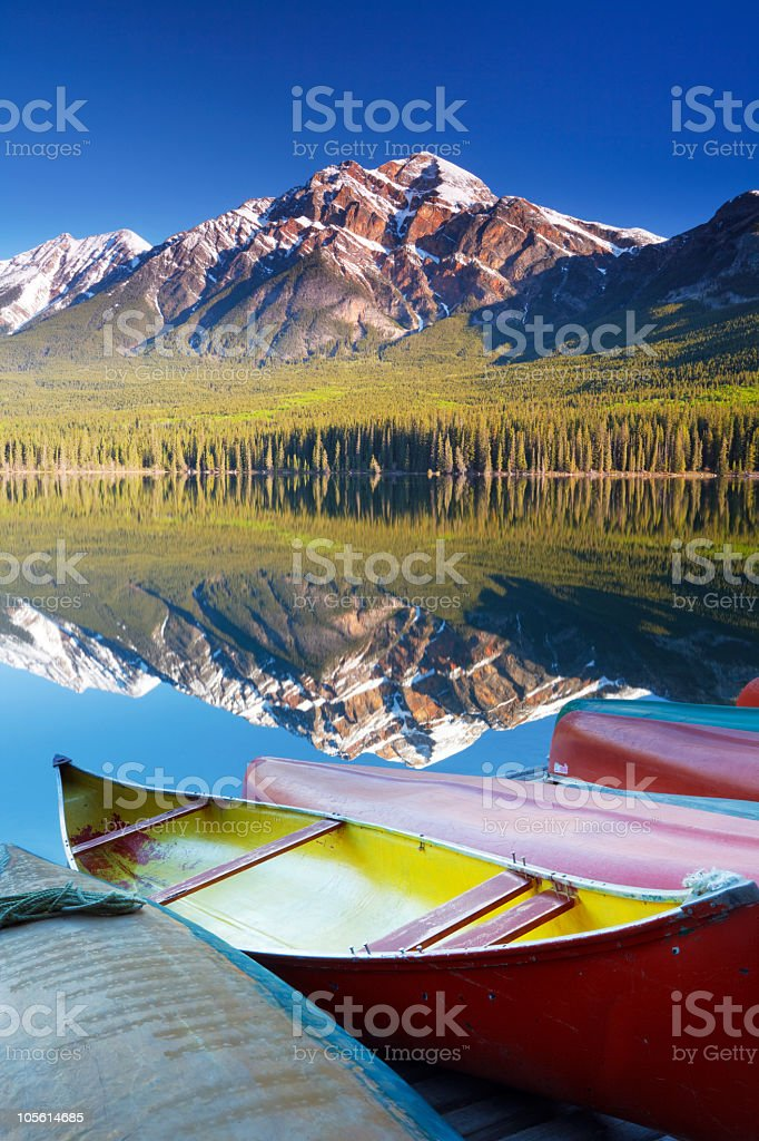 Canoes by Pyramid Lake stock photo