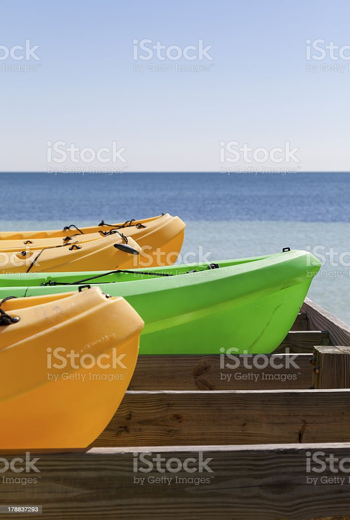 Canoes in a row royalty-free stock photo