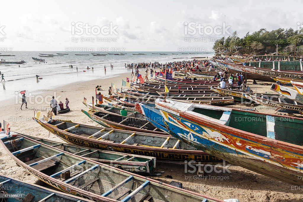 Canoes in Kafountine stock photo