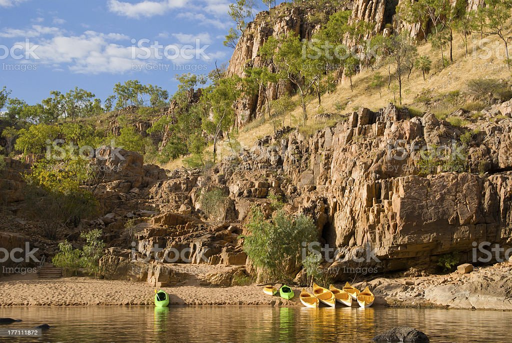 Canoes in Katherine Gorge royalty-free stock photo