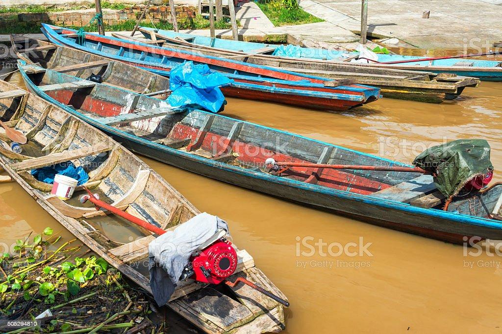 Canoes in the Amazon stock photo