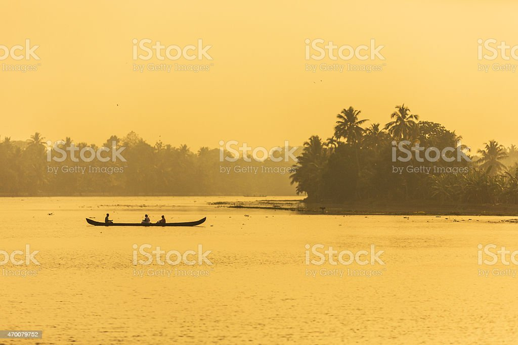 Canoes in the backwaters of Kerala stock photo