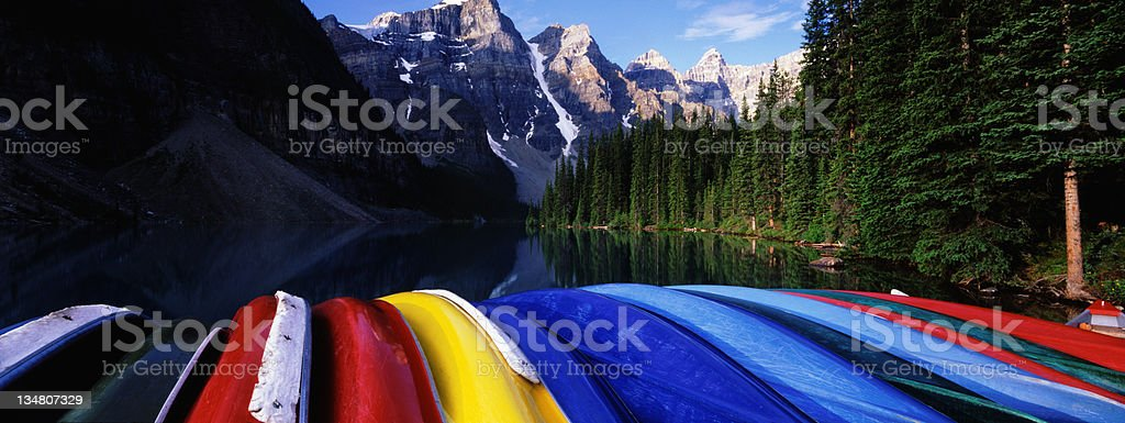 Canoes in the Rockies royalty-free stock photo