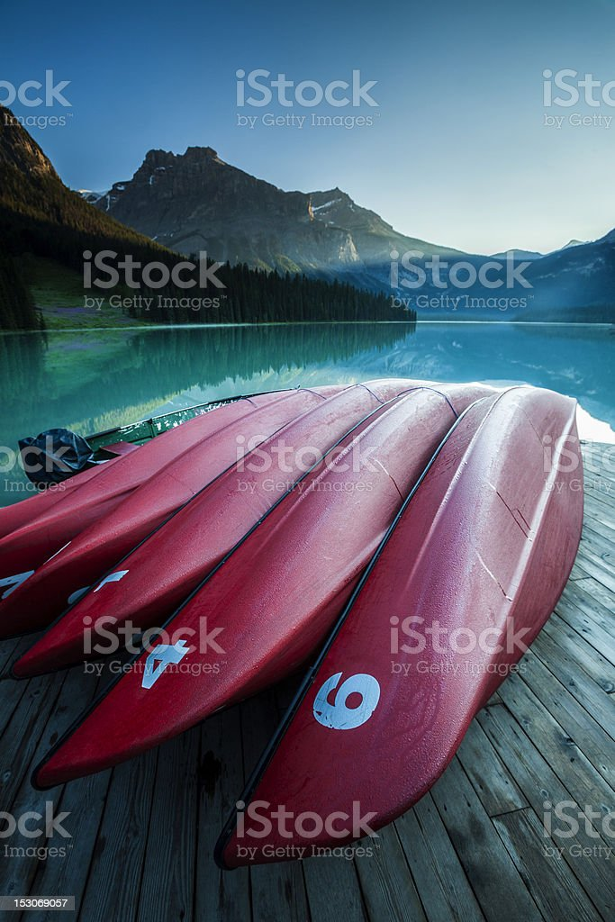 Canoes in the Rockies stock photo