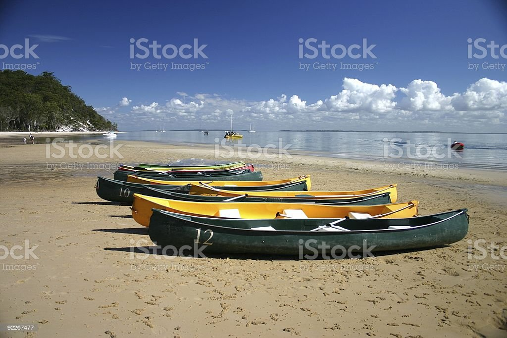 Canoes on Beach royalty-free stock photo