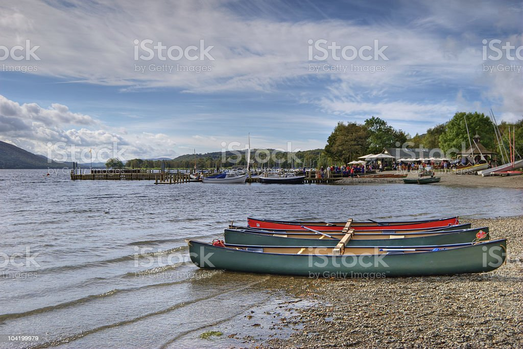 Canoes on Coniston water stock photo