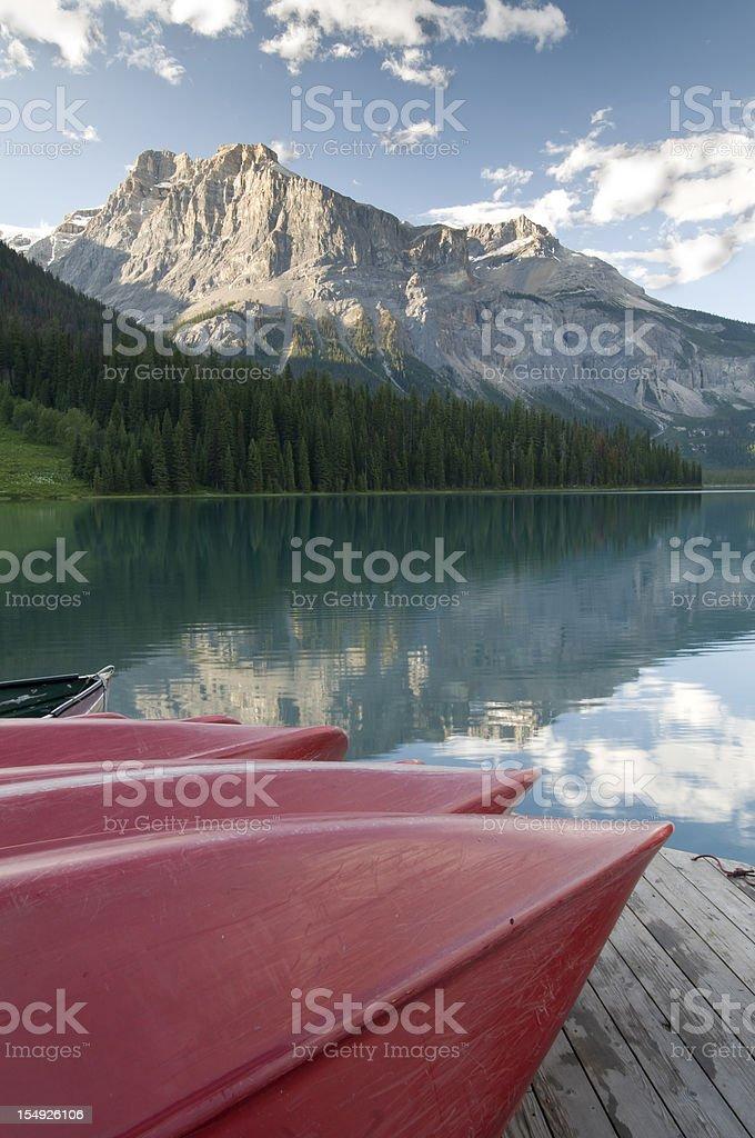Canoes on Emerald Lake royalty-free stock photo