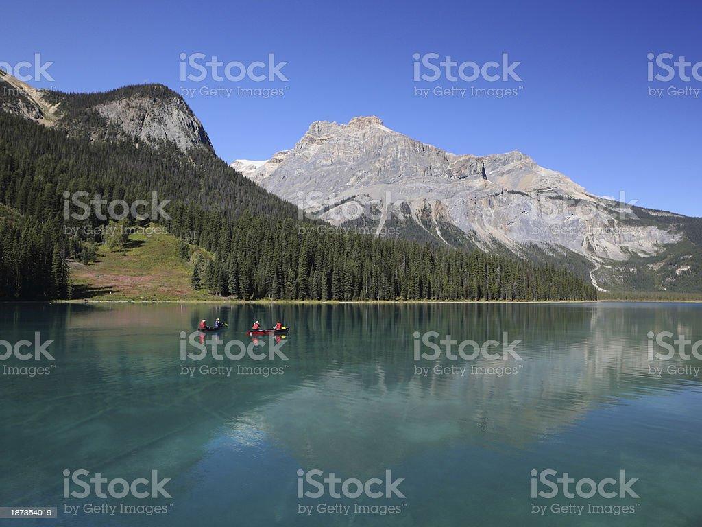 Canoes on Emerald Lake, Yoho National Park, British Columbia, Canada stock photo