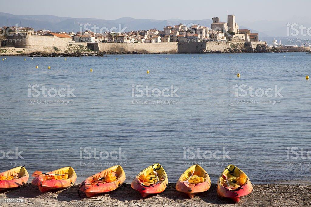 Canoes on the beach stock photo