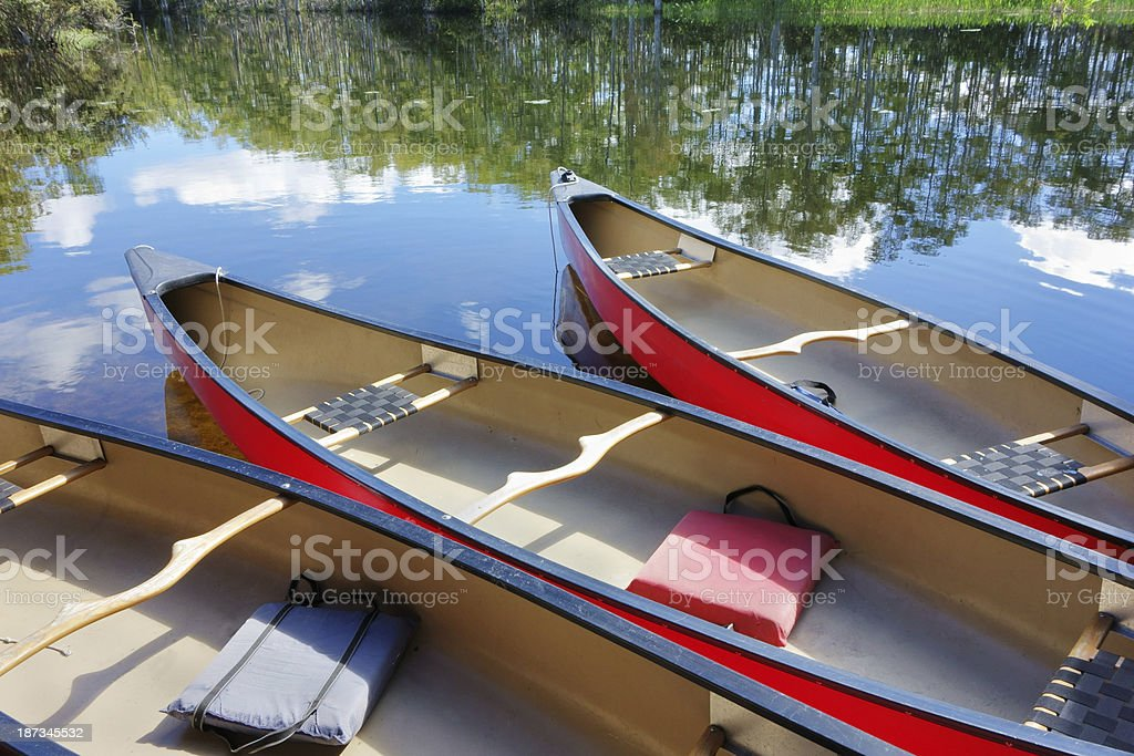 Canoes on water royalty-free stock photo