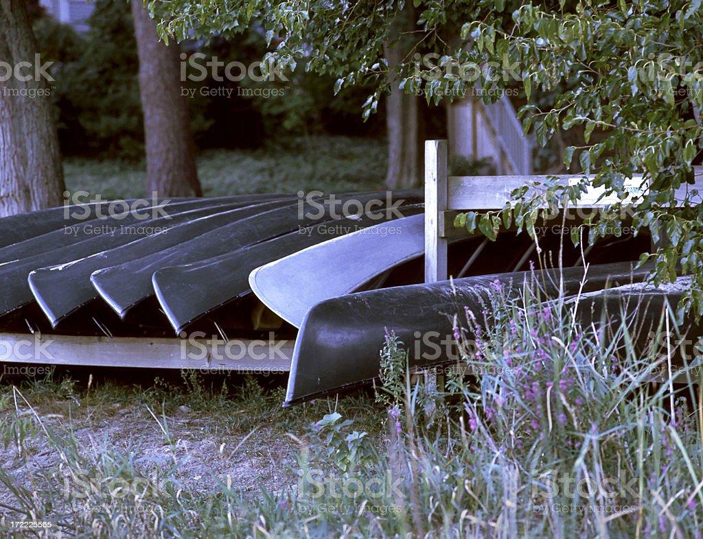 Canoes stock photo