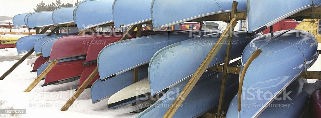 Canoes storage royalty-free stock photo