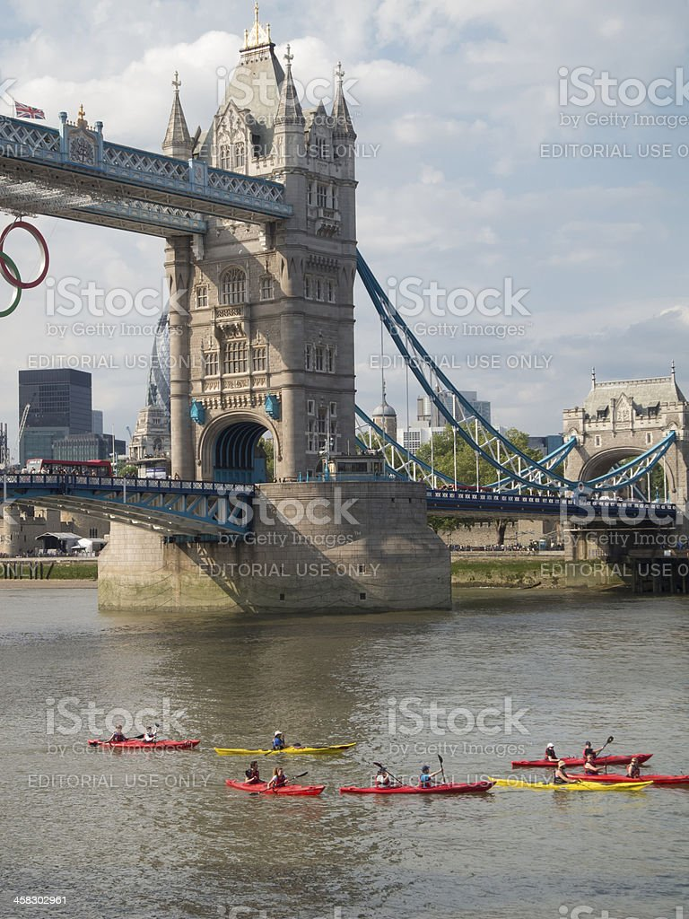 Canoes under the Tower Bridge, London royalty-free stock photo