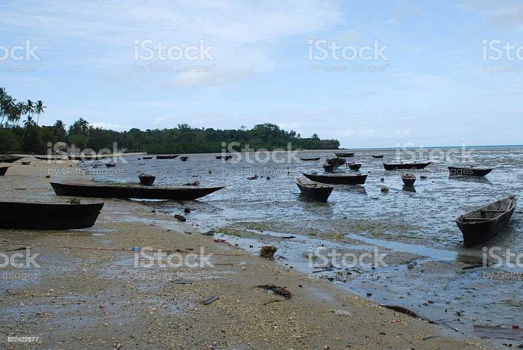 Canoes with the Tide Out royalty-free stock photo