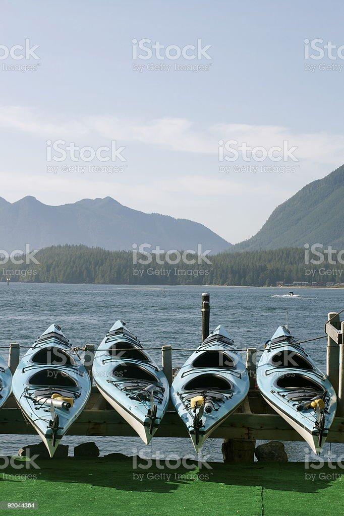 Canoes/kayaks on display royalty-free stock photo