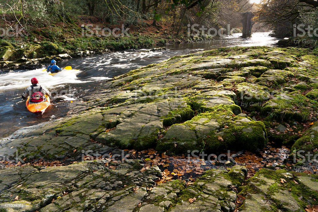 Canoests on the River Dart, Dartmoor stock photo