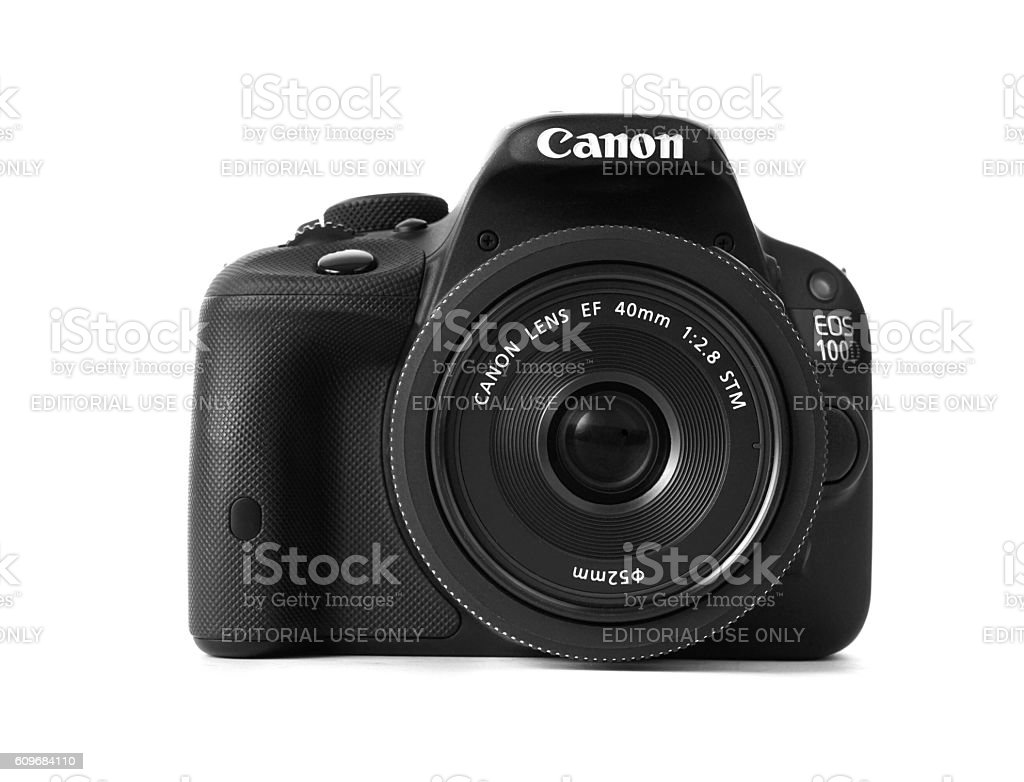 Canon 100d with 40mm pancake lens frontview stock photo