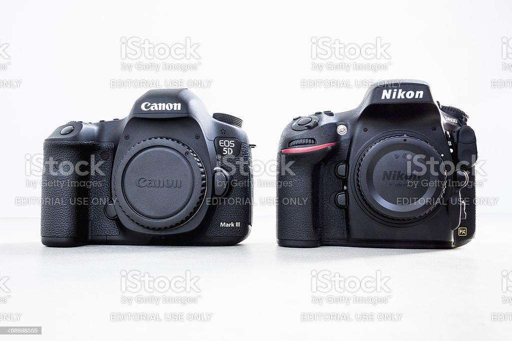 Canon 5D Mark III and Nikon D800 DSLR Camera Bodies stock photo
