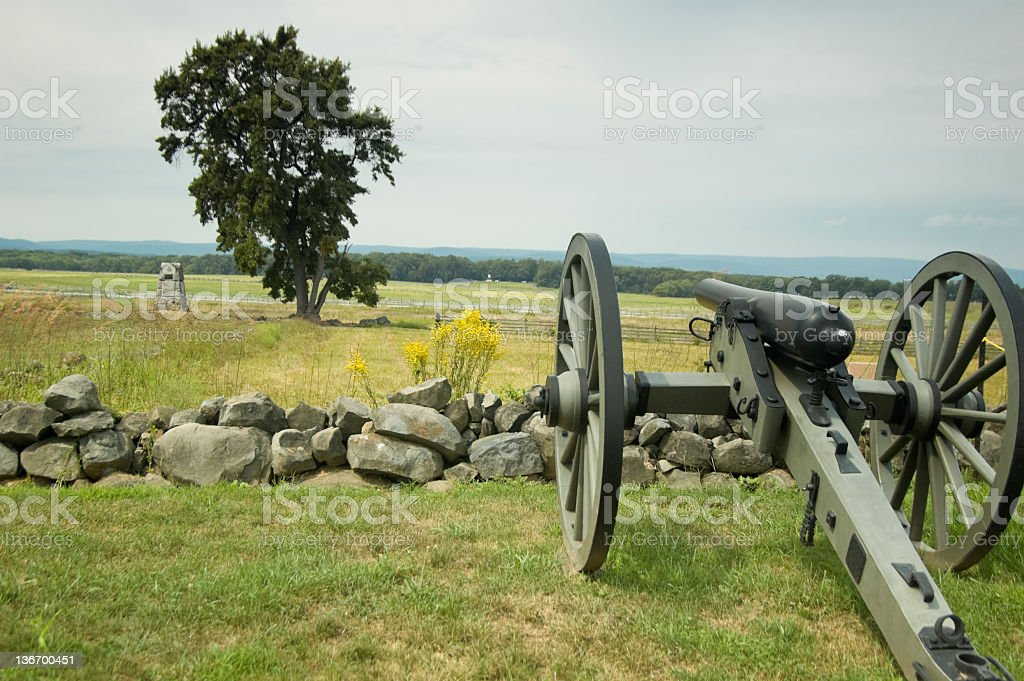 Canon at the Bloody Angle, Pickett's Charge, Gettysburg Battlefield royalty-free stock photo