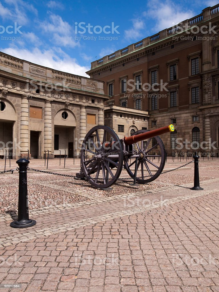 Canon at the Royal Palace in Stockholm, Sweden. royalty-free stock photo