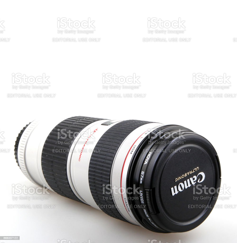 AYTOS, BULGARIA - DECEMBER 11, 2015: Canon EF 70-200mm f/4L USM Lens. Canon Inc. is a Japanese multinational corporation specialized in the manufacture of imaging and optical products. stock photo