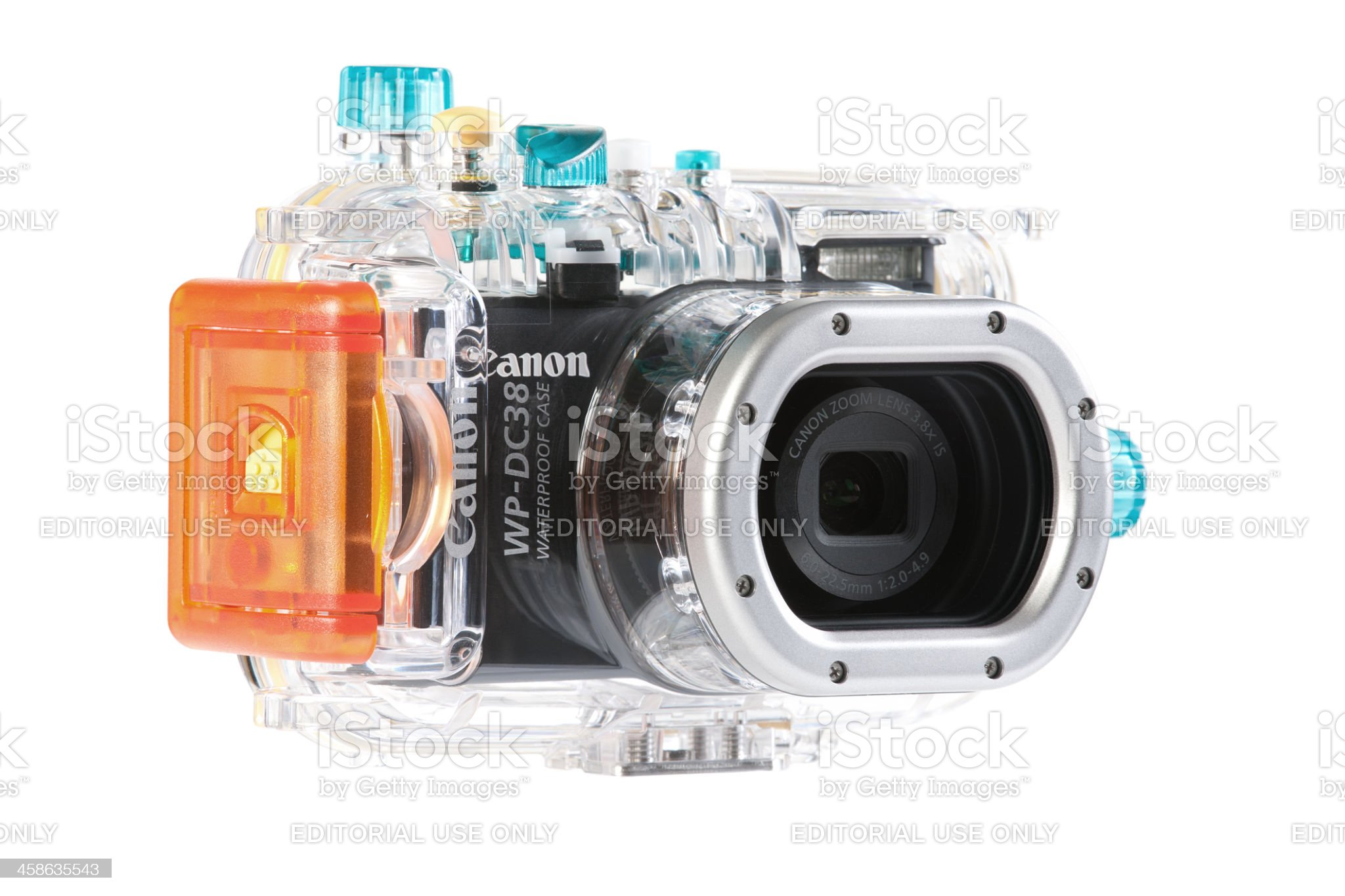 Canon S95 in underwater case royalty-free stock photo