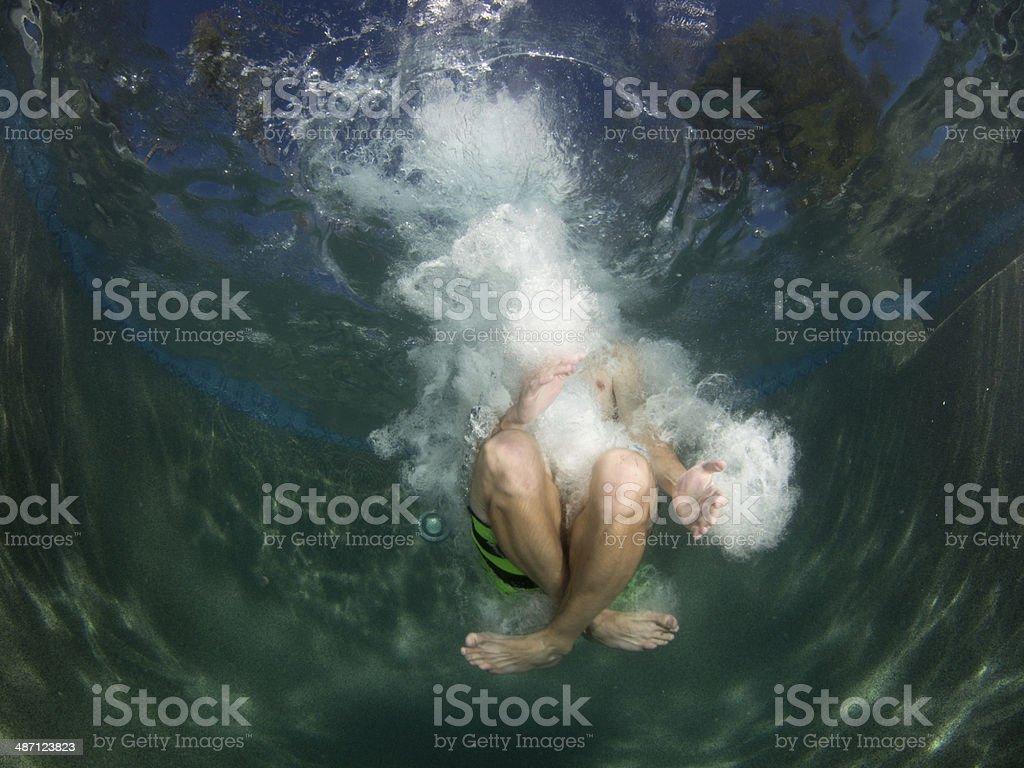 Canonball into Pool stock photo