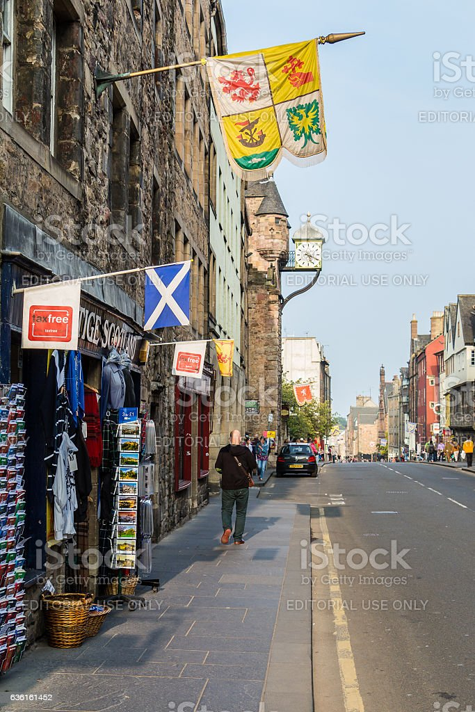 Canongate section of the Royal Mile street in Edinburgh, Scotlan stock photo