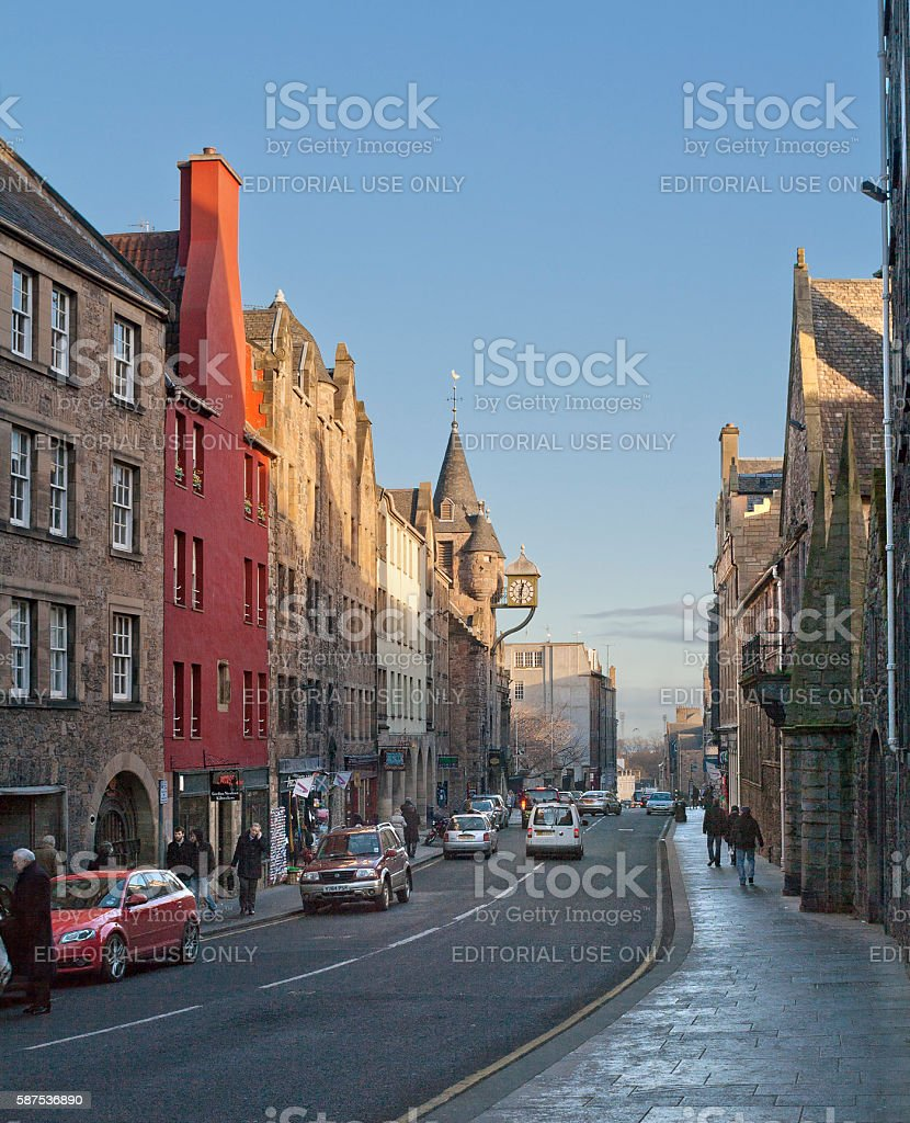 Canongate street in Edinburgh, Scotland stock photo