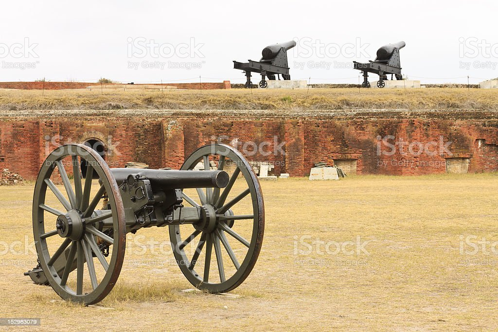 Canons At American Civil War Fort stock photo
