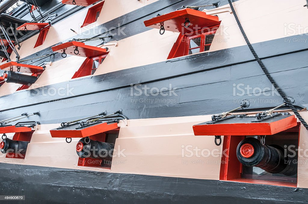 Canons On An Old Ship stock photo