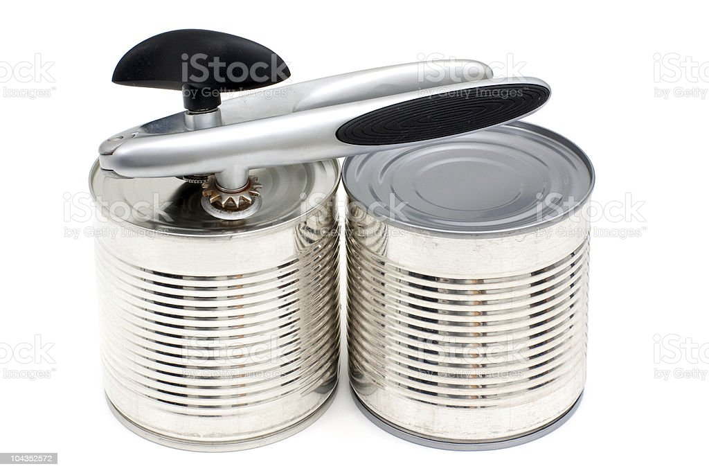 Can-opener on the cans royalty-free stock photo