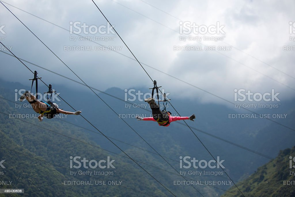 Canopy activities in Banos, Ecuador stock photo