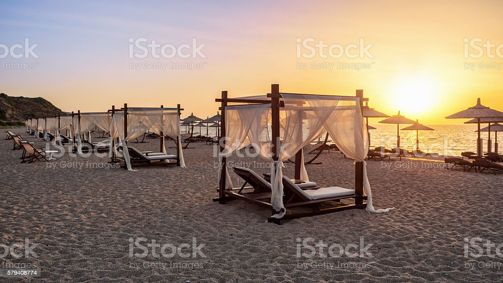 Canopy beds stock photo