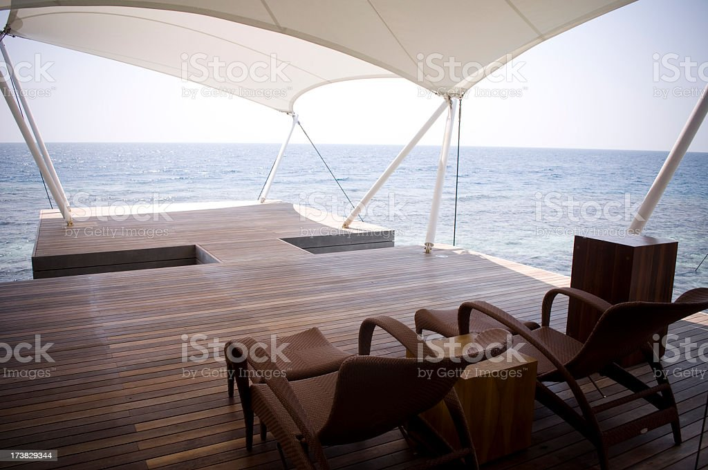 Canopy Boat Dock in Maldives royalty-free stock photo