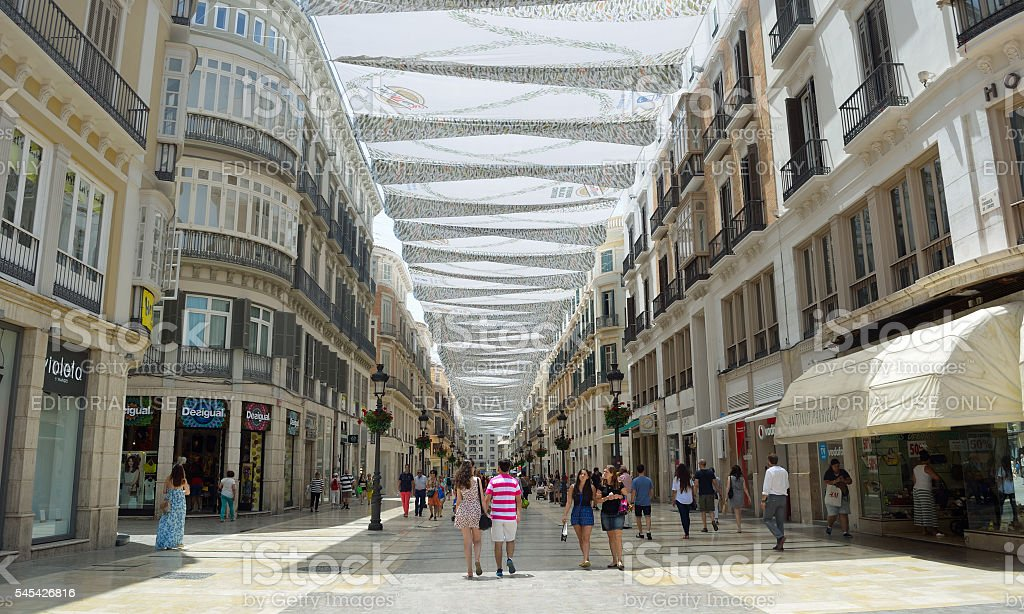 Canopy covered pedestrian shopping street stock photo