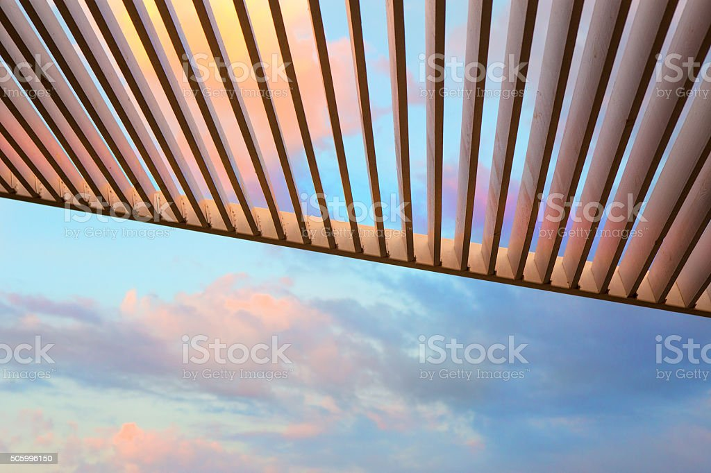 canopy from wooden levels stock photo