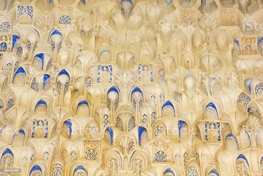 Canopy with stonework. Hall of the two Sisters. stock photo