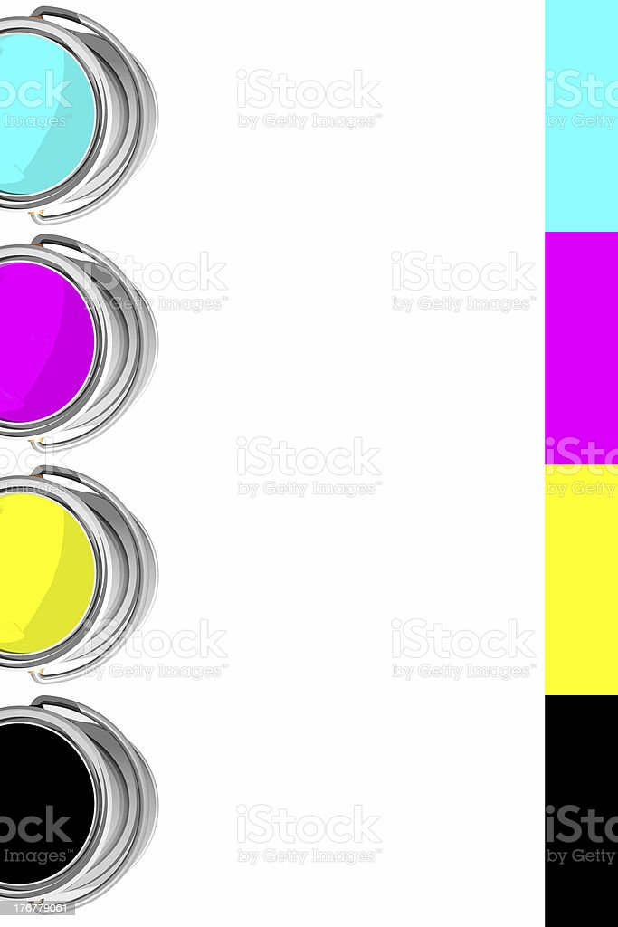 CMYK cans and strip (3D) stock photo