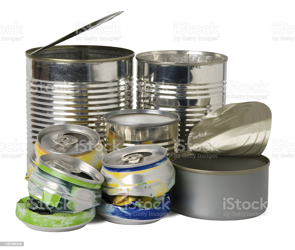 Cans and tins stock photo