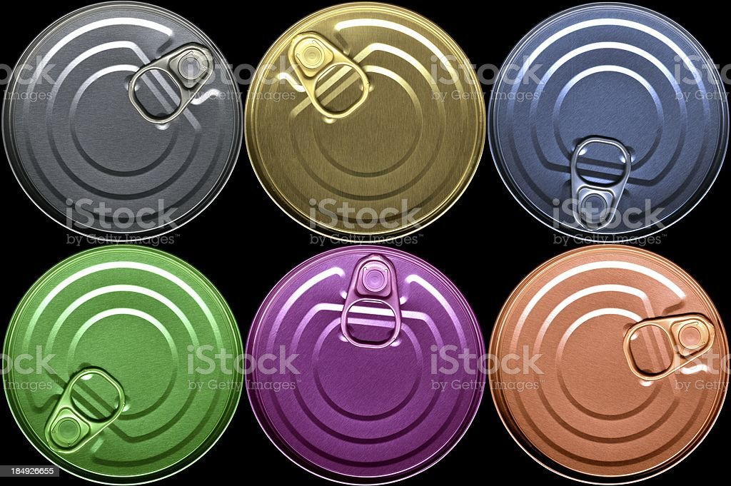 Cans, coloured stock photo