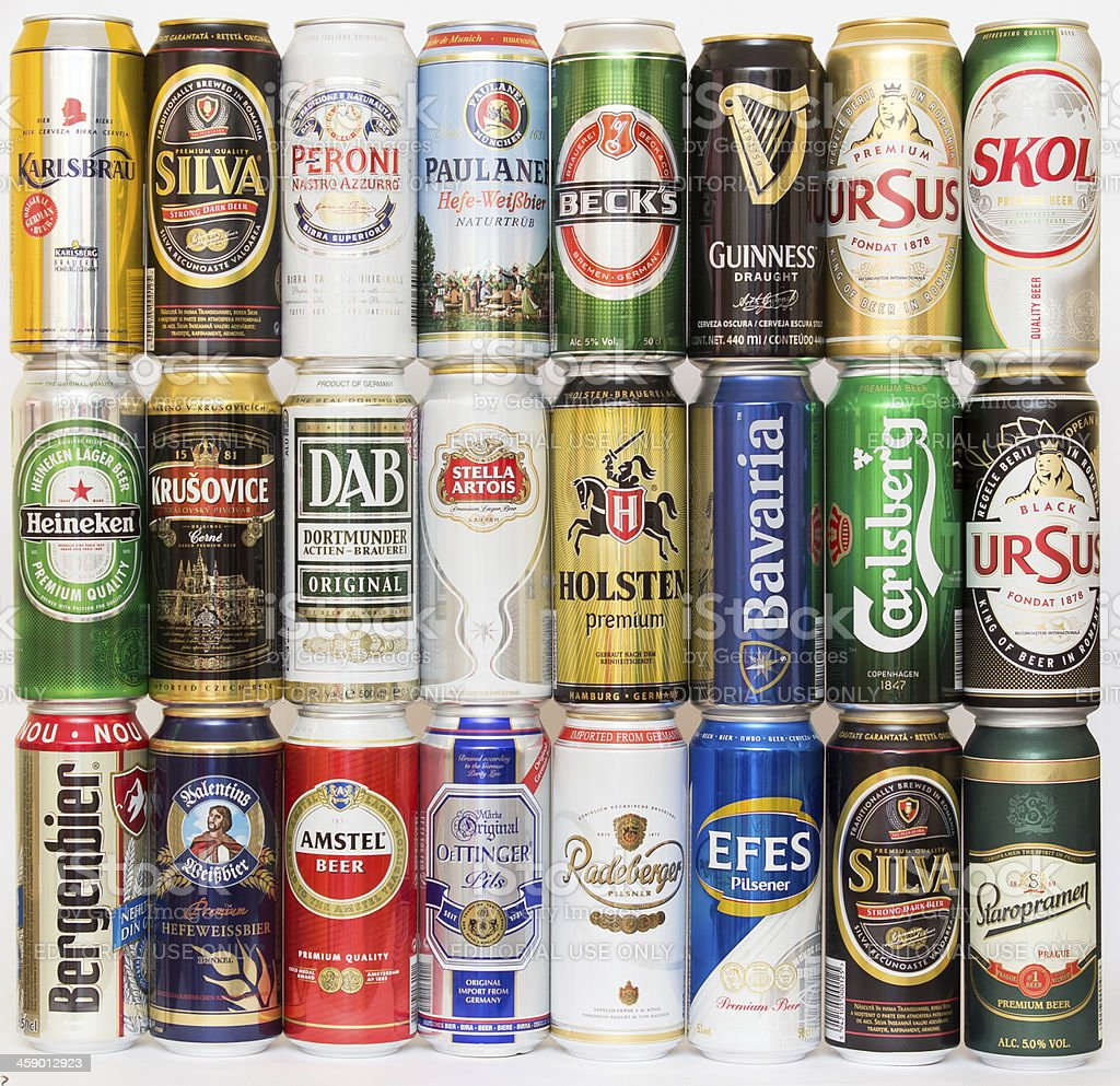 Cans of beer stock photo